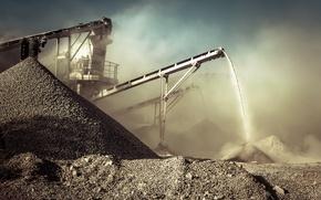 Wallpaper dust, mining, rocks, conveyor, dirt