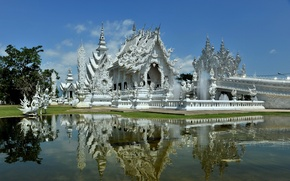 Picture white, water, reflection, Thailand, temple, architecture