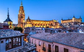 Picture the city, view, home, the evening, roof, Cathedral, fortress, Spain, Toledo, Spain, Alcazar, Castilla-La Mancha, …