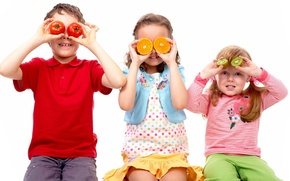 Picture children, the game, hide and seek, fruit, fun