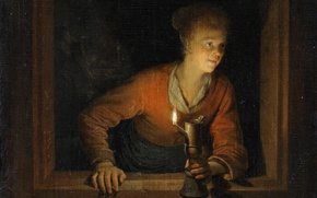 Picture picture, genre, The woman in the Window with the Lamp, Gerard Dou