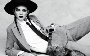 Wallpaper model, hat, makeup, brunette, hairstyle, tie, lies, black and white, braids, shirt, jacket, on the ...