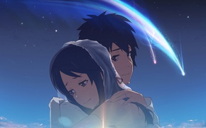 Picture girl, anime, art, guy, two, Kimi no VA On, Your name