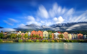 Picture clouds, mountains, lake, home, Austria, Innsbruck
