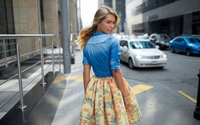 Picture girl, city, sweetheart, skirt, jacket, blonde, light, the beauty, fashion, road, cars, young, street, pretty, …
