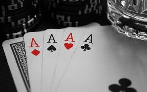 Picture Black, The game, White, Glass, Card, Poker, Peaks, Worms, Chips, ACE, Diamonds, Clubs