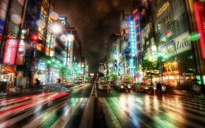 Picture road, machine, night, building, Tokyo, Japan