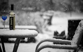 Picture winter, snow, bottle