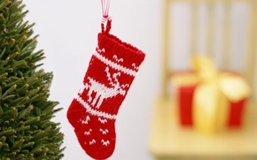 Picture gift, tree, sock, blur, New Year, Christmas, Christmas, New Year
