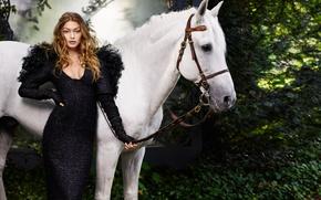 Picture pose, model, horse, makeup, figure, dress, black, hairstyle, white, brown hair, photoshoot, Harper's Bazaar, Gigi …