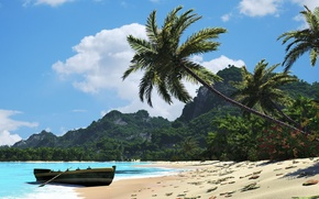 Picture beach, leaves, palm trees, hills, boat, Sunny