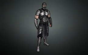 Picture the dark background, costume, ninja, Smoke, mortal kombat, Smoke
