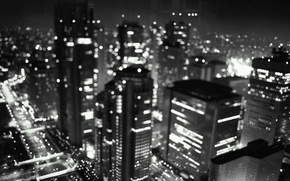 Picture black and white, night, lights