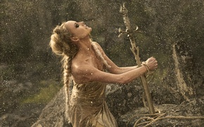 Picture girl, stones, fantasy, gold, the situation, sword, rope, dress, fairy, fantasy, hairstyle, gold plated, Princess, …
