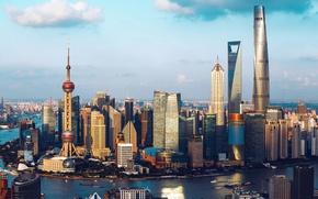 Wallpaper Shanghai, the city, river, building, China, China