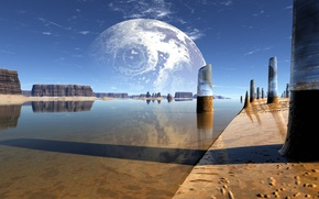 Wallpaper water, lake, reflection, rocks, planet, columns, lightdrop