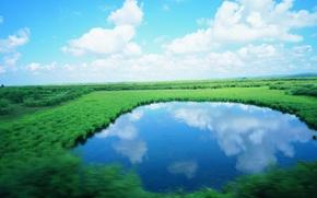 Picture the sky, lake, oragene