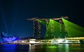 Wallpaper photo, illumination, Singapore, The hotel, lights, Marina Bay Sands, photographer, night, Jamie Frith, Singapore, Marina ...