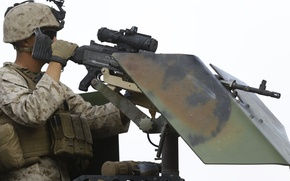 Picture weapons, army, soldiers, machine gun