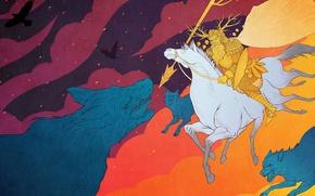Picture wolves, battle, One, The gods, Fenrir, Ragnarok