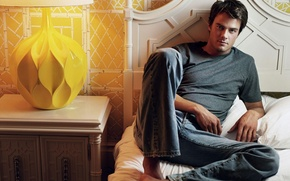 Picture model, lamp, bed, jeans, actor, male, table, Josh Duhamel, Josh Duhamel