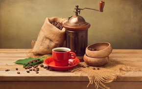 Picture leaves, coffee, grain, Cup, red, saucer, pouch, coffee grinder