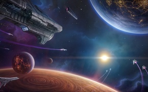 Picture space, planet, stars, flight, Space fleet