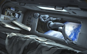 Picture space, fiction, earth, robot, bed, gravity, cyborg, spaceship, cabin