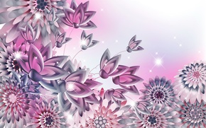 Picture butterfly, flowers, background