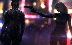 Picture gun, rain, woman, male, sword, art, cyberpunk, pearls
