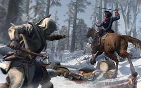 Picture winter, snow, horse, soldiers, assassin, Assassin's Creed III, Radunhageydu, the half-breed Indian, Connor Kenuey, Assassin's ...