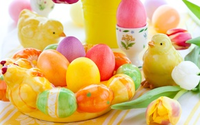 Wallpaper holiday, chickens, eggs, spring, Easter, tulips, figures, Easter, Easter
