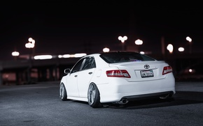 Picture night, white, white, toyota, Toyota, camry, Camry, stance