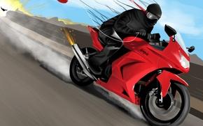 Picture the explosion, fire, race, speed, art, motorcycle, ninja, ninja, a balloon