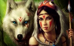 Wallpaper girl, blood, wolf, spear, Princess Mononoke, Princess Mononoke