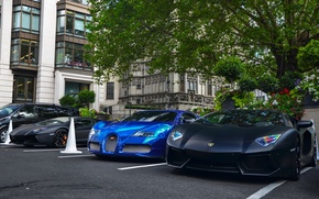 Picture Bugatti, Veyron, supercar, Bugatti, Blue, Lamborghini, Black, the front, London, Aventador, aventador, Veyron, hypercar, matte, …