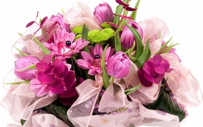 Picture flower, nature, bouquet, spring, tape, tulips, bow, lilac, bead