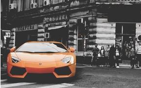 Picture street, building, Lamborghini, Aventador, Adventdaor