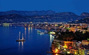 Picture sea, the city, the evening, Italy, coast, Sorrento