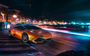 Picture Lamborghini, Orange, Front, Night, DMC, Supercar, Huracan, LP610-4, Customs