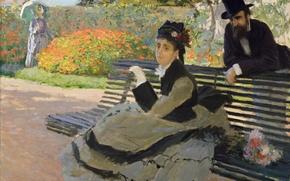 Picture picture, Claude Monet, genre, Camille Monet on a Garden Bench