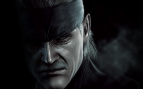 Picture mustache, face, Solid Snake, Metal Gear Solid 4: Guns of the Patriots, old Snake