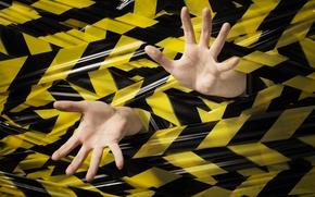 Picture black, yellow, hands, stuck, plastic ink