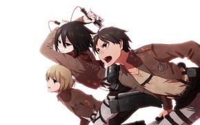 Picture attack, white background, emblem, friends, swords, art, military uniform, Shingeki no Kyojin, Mikasa Ackerman, Eren …