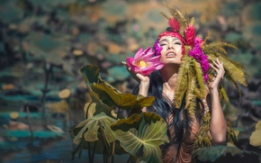 Picture girl, flowers, Lotus, sunlight