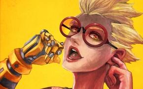 Wallpaper fan art, Junkrat, prosthesis, Overwatch, smile, hand, headphones, girl, glasses, casual