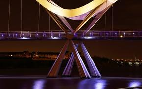 Picture night, bridge, city, the city, lights, river, England, backlight, UK, river, bridge, night, England, United …