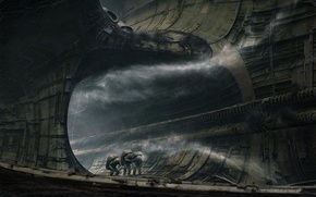 Wallpaper nozzle, astronaut, ship, old, fog, frame, the astronauts, plating, destroyed, inside