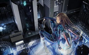 Picture girl, night, the city, gun, weapons, height, tape, bow