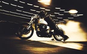 Picture bike, night, race, custom, burnout, Triumph, Speedmaster, icon1000, drag bike